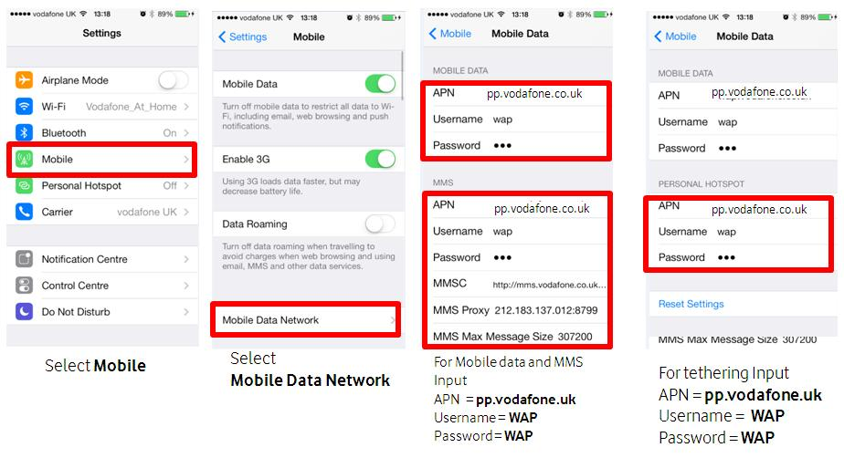 Adding Payg Internet Settings On The Iphone 5s Or