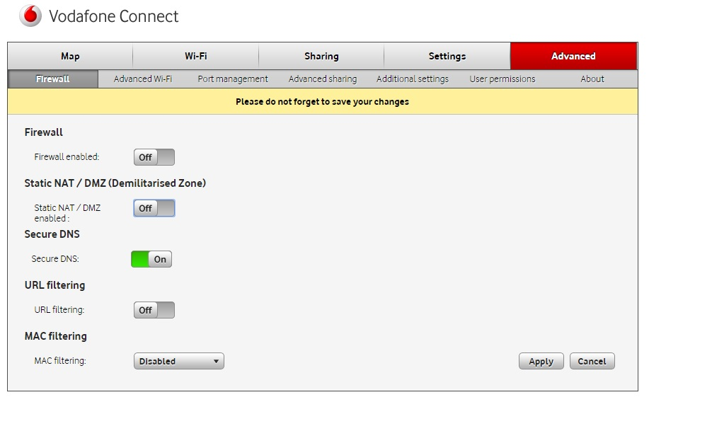 Vodafone connect router DHCP settings - Community home