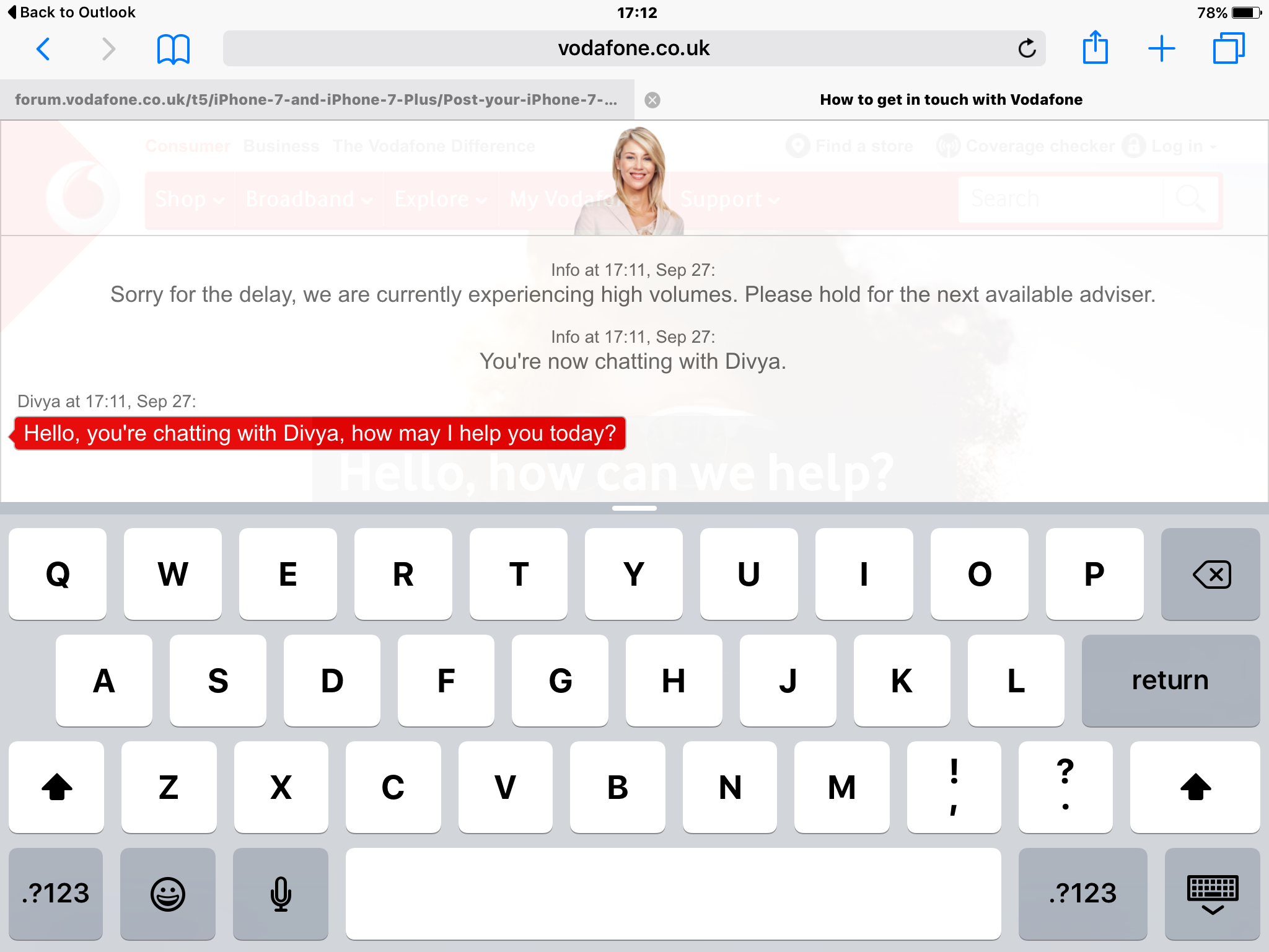 Contact vodafone live chat