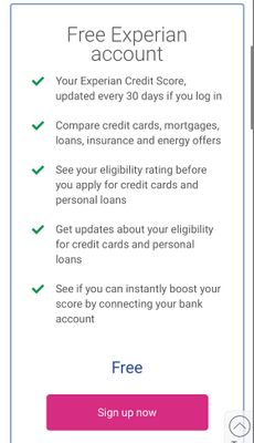 Free Experian account updates every 30 days