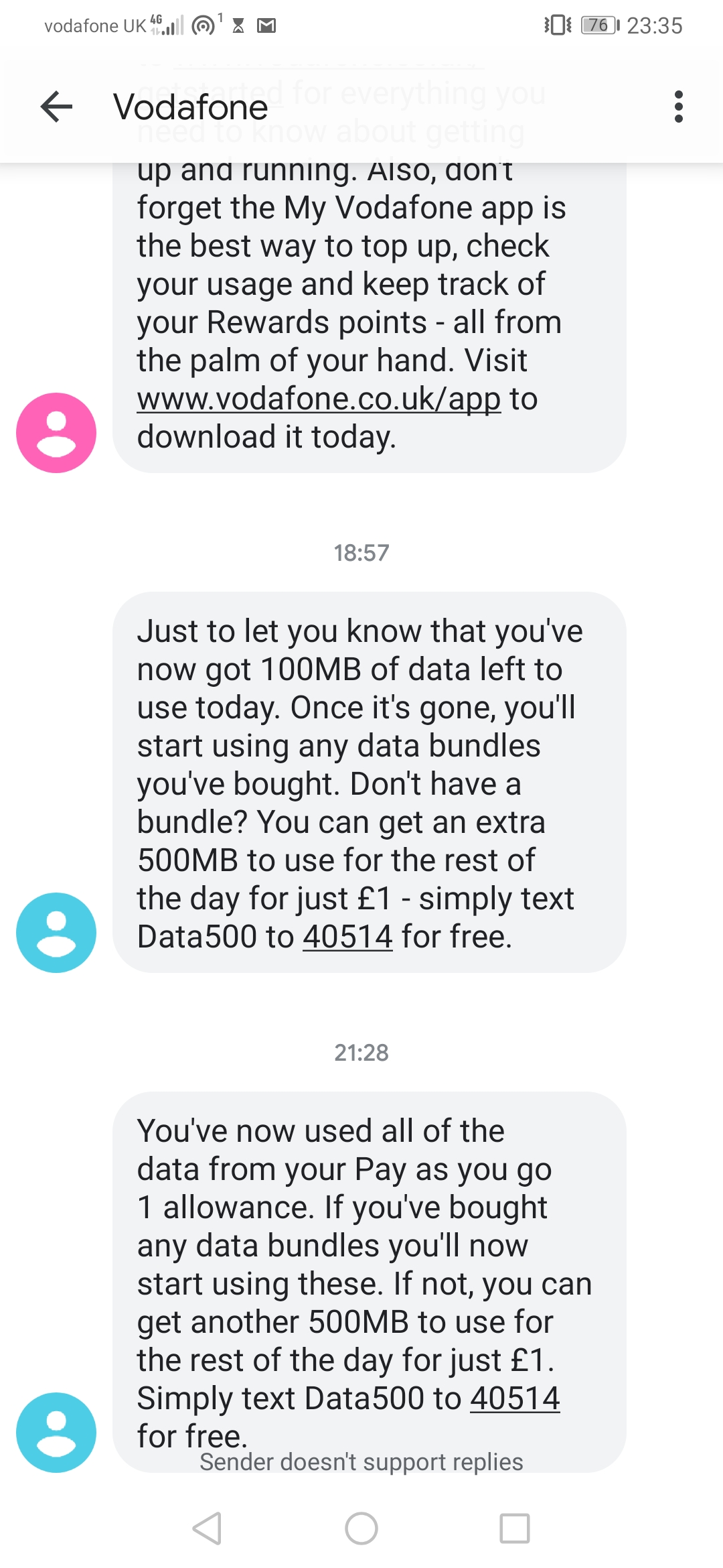 Data 20GB but can't use after 500mb - Community home