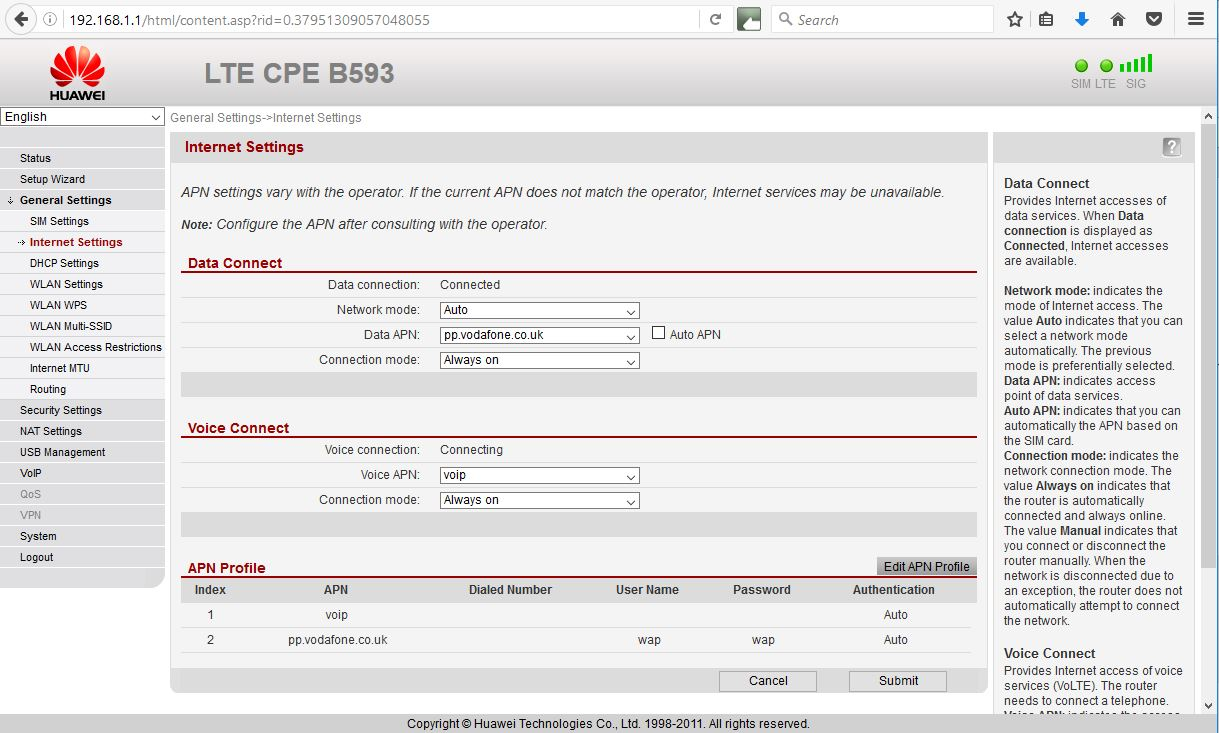 Huawei B593u-12 4G Router - What settings for 4G ? - Community home