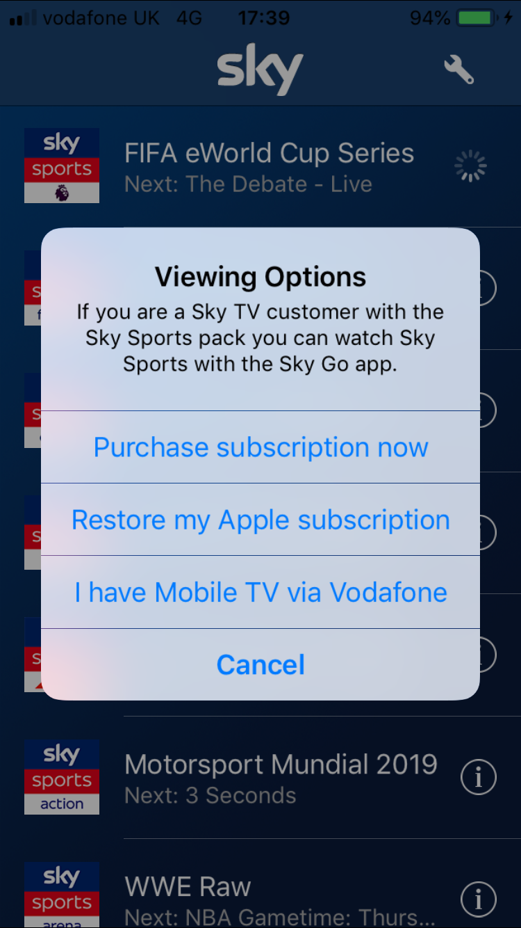 Solved Sky Sports Mobile Tv App Not Working Community Home